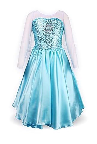 Mädchen Prinzessin Schneeflocke Süßer Ausschnitt Kleid Kostüme(128-134, Himmelblau)