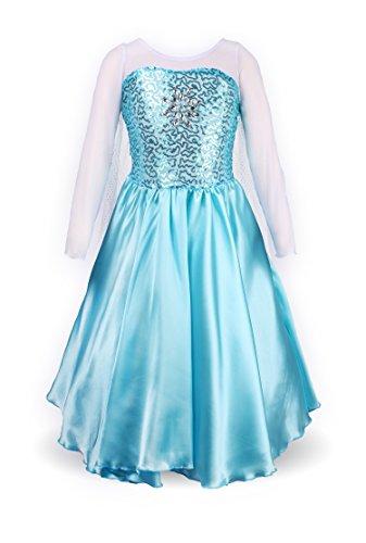 Petites Filles Princesse Elsa Manches Longues Robe Costume (6-7 ans, bleu ciel)