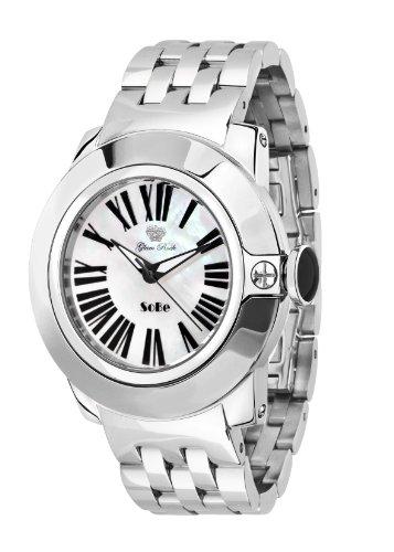 Glam Rock 0.96.2819 - Reloj analógico de cuarzo unisex, correa de acero inoxidable color plateado