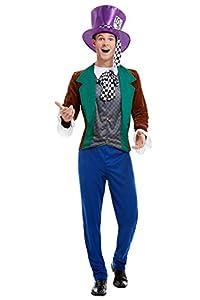 Smiffys 50729L - Disfraz de Sombrerero Loco para hombre, multicolor, talla L, 106,68-111,76 cm