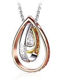 Collier, J.Rosée Argent 925 Bijoux Femme/Fille 5A Zirconium cubique, Pendentif Idéal, chaîne 45+5cm Cadeau parfait Rêve d'elle