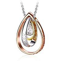 Collana in Argento 925, J.RoséeLe lacrime di Venere 5A Zircone per Donna Tre colori bianco/oro/oro rosa Regalo di San Valentino