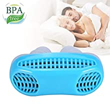 2 in 1 Anti Snoring Devices, Snoring Aids Snore Stopper and Breathing Air Purifier, Nose Snore Vents Nasal Dilator, Stop Snoring Solution for Comfortable Sleeping (Blue)