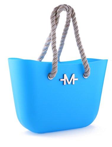 Marino borsa da spiaggia da donna , borsa da nuoto, borsa a secchiello con zip, stile di lusso e manici in corda intrecciata, borsa a mano grande in silicone resistente, impermeabile Aqua