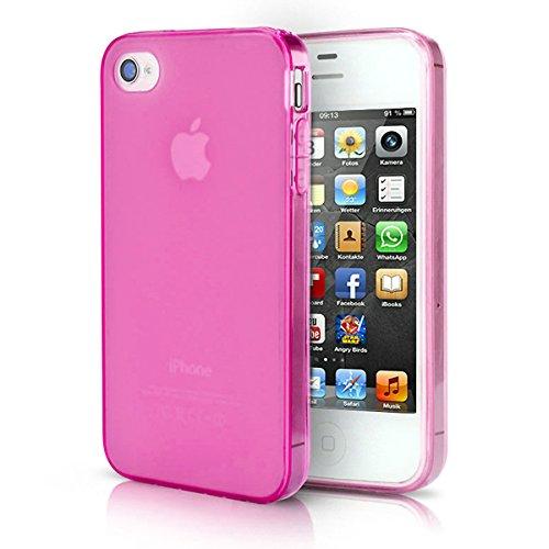 doupi PerfectFit Schutzhülle mit Staubstöpseln für iPhone 4 4S Staubschutz eingebaut Matt Clear Design TPU Schutz Hülle Silikon Schale Bumper Case Schutzhülle Cover, pink (Case 4 Iphone Pink)