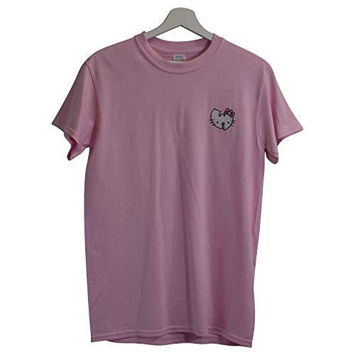 Actual Fact Wu x Hello Kitty Wu Tang Clan Japanisch Cartoon Rosa Retro Hip Hop T-Shirt (Small-XXLarge) - Rosa, XL