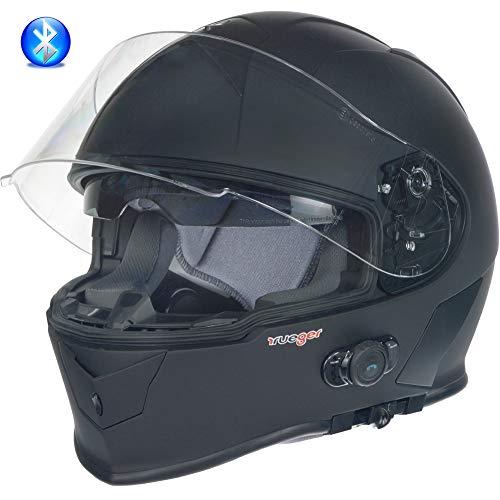 RT-770 Bluetooth Integralhelm Motorradhelm Integral Motorrad Quad Helm rueger, Größe:L (59-60), Farbe:Matt Schwarz