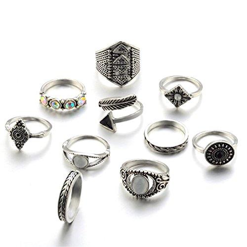Ashop anelli donna, anello donna set di 10 pezzi da donna vintage in argento bohemien con anelli a nocca