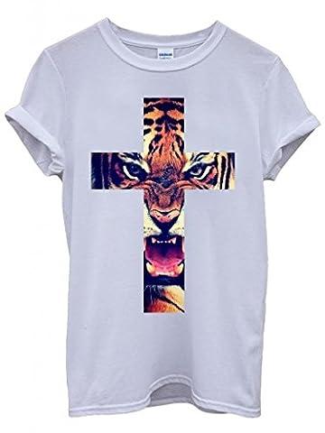Leopard Cross Roar Meow Big Cat Cool Funny Hipster Swag White Weiß Damen Herren Men Women Unisex Top T-Shirt-Small