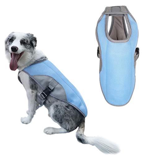 d, Atmungsaktiv Kühlweste für Hunde Weste mit Reflektoren für mehr Sicherheit Pet Kühljacke Geeignet für Mittlere und große Hunde,Blue,XL ()