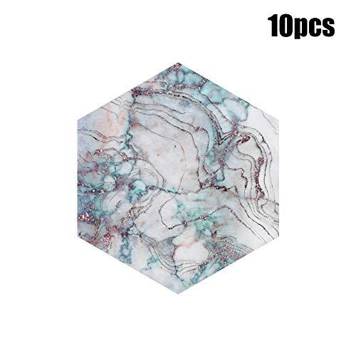 NO BRAND Decoración Inicio 10pcs / Imitación Mármol Hexagonal Azulejos Pegatinas de baño Cocina Inicio Antideslizante Suelo de Azulejos Papel Autoadhesivo Decoración de Pared (Color : A)