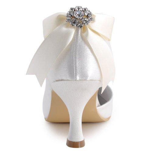 Elegantpark E0618 Raso Punta Chiusa Nastro Diamante Bowknot Tacco Alto Scarpe da sposa Ballo Partito da Sera Bianco