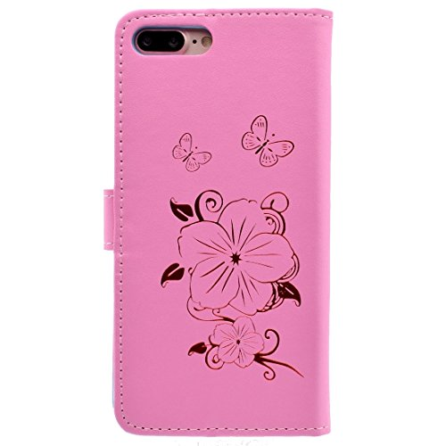 GHC Cases & Covers, Für iPhone 7 Plus Bronzing Butterfly Pattern Horizontale Flip PU Ledertasche mit Halter & Card Slots & Wallet ( Color : Yellow ) Pink
