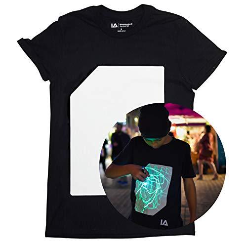 Illuminated Apparel Interaktive Leucht T-Shirt (Schwarz/Grün, 5-6 Jahre) -