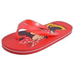 Disney Kids Unisex DHS-02 Red Flip Flops - Size 4