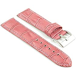 StrapsCo Pink Padded Croc Leather watch Strap size 28mm