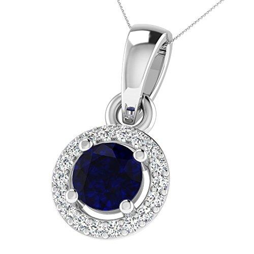 His & Her argento 92ct (925) rotondo diamante & ciondolo con rivestimento oro rosa, 0,05ct diamante & 0.4ct zaffiro blu, GH-PK, 19Peter.