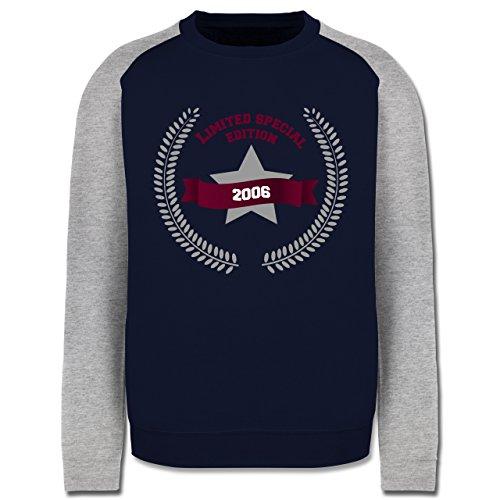 Geburtstag - 2006 Limited Special Edition - Herren Baseball Pullover Navy Blau/Grau Meliert