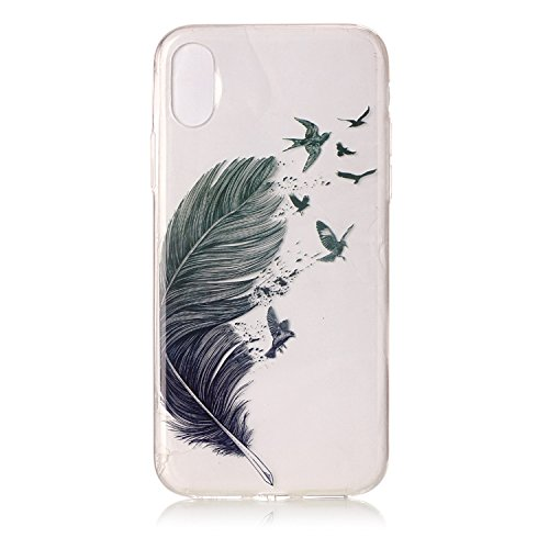 Cover Apple iPhone X, Voguecase Custodia Silicone Morbido Flessibile TPU Transparent Custodia Case Cover Protettivo Skin Caso (cuori rossi 05) Con Stilo Penna Grigio piuma 01
