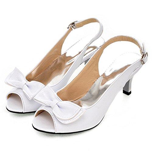 TAOFFEN Damen Mode-Event Kitten Heel Slingback Sandalen Mid Heel Schuhe mit Bogen Weiß