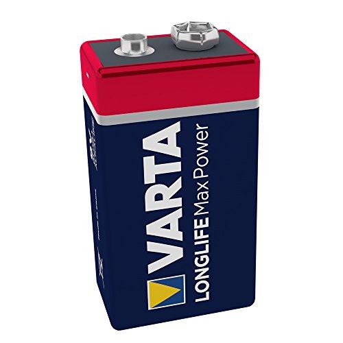 VARTA Longlife Max Power 9V Block 6LR61 Batterie, Alkaline E-Block Batterien ideal für Feuermelder Rauchmelder Stimmgerät, 1er Pack Alkaline-fall