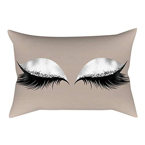 Xmiral Kissenbezug Soft Kissen Wimpernmuster 30x50cm Persönlichkeit Sofakissen Pillowcase(J)