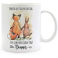 Ernährung Tasse Becher Kaffeetasse Fuchs Hase Pärchen Scheiß Auf Valentinstag Name Ts942