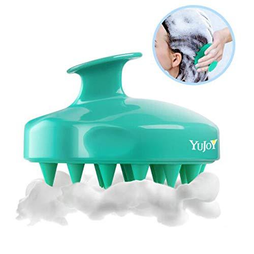 Masseur Tête, brosse à cheveux,Brosse Shampooing de Massage Cuir Chevelu Peigne en Silicone Souple pour Relaxation de la Tête Shampoing Exfolie et Retire les Peaux Mortes (Green)