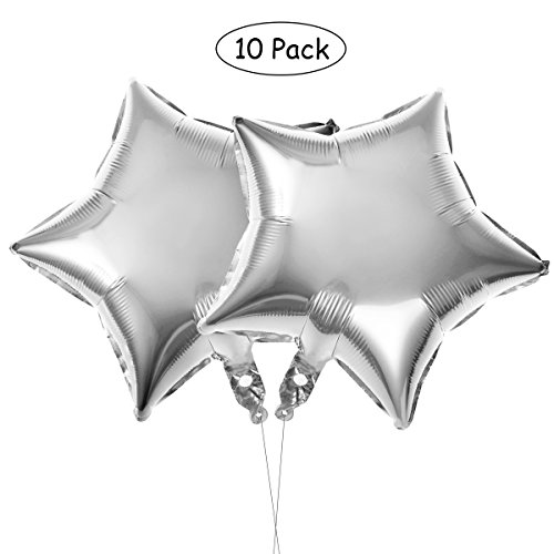Geburtstag Party Dekoration,Sterne Folie Ballon für Valentins Tag Hochzeit Geburtstag Party Supplies,10er(Silber) ()