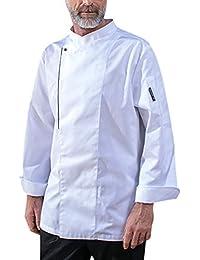Dexinx Ropa de Trabajo para Hombre de Chef Chaqueta de Manga Larga de Verano Solo Pecho Chef Uniforme del Hotel