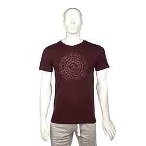 "Bodhi Yoga Shirt Männer""ETHNO MANDALA"", 100% Bio-Baumwolle, dunkel-rot melange, FairWear, GOTS"