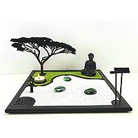 Bonseki® Giardino Zen da tavolo 30 x 30 cm in legno, buddha, la candela proietta l'ombra del bonsai sulla parete. Personalizzabile