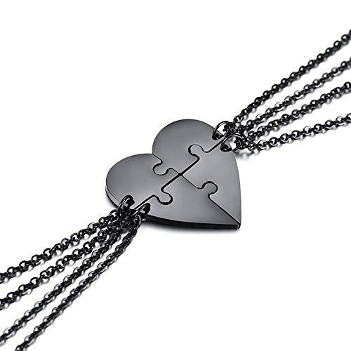 UMtrade 4 Pieza Mujer Hombre Acero Inoxidable Amistad Corazón Puzzle Colgante Pendiente Collar