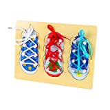 Get Fresh Children Wear Laces To Wear Educational Toys (Pack of 3) Wooden Lacing Shoe Toy Learn to Tie Shoelaces, Fine Motor Skills Toy Threading Toy Board Game for Kids