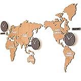 Große Wanduhr in Form einer Weltkarte, supergroße 3D-Weltkarte aus Holz mit Uhren, Geeignet für Geschäfte, Büros, Lokale (Brown)