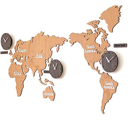 Große Wanduhr in Form einer Weltkarte, supergroße 3D-Weltkarte aus Holz mit Uhren, Geeignet für Geschäfte, Büros, Lokale (Brown) - Paris-wand-aufkleber