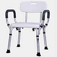 LSXLSD Shower stool bathroom stable chair height adjustable swivel seat aluminum shower seat adult
