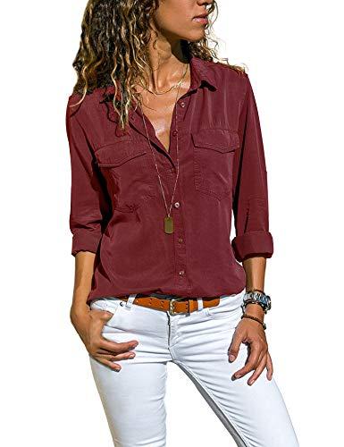Enjoyoself Damen Bluse Casual Langarm Hemdbluse Basic Button Down Hemdshirt mit Brusttaschen Leichte Business Blusen fürs Büro,Weiß,M