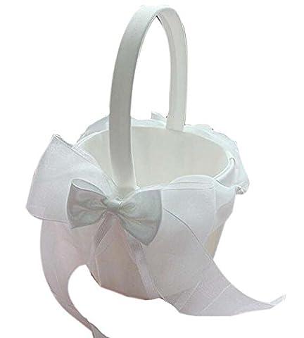Panier de fleur de pétale de mariage Panier de fleur en soie portable, Filet net blanc