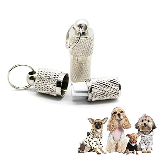 Aolvo Anti Lost Hunde/Katzen ID Tag Tube Flasche Muster Behälter Persönlichen Dog Tags Adresse Name Label Identität Tag Halsband im microchipped Hund Tag für Kleine Pet
