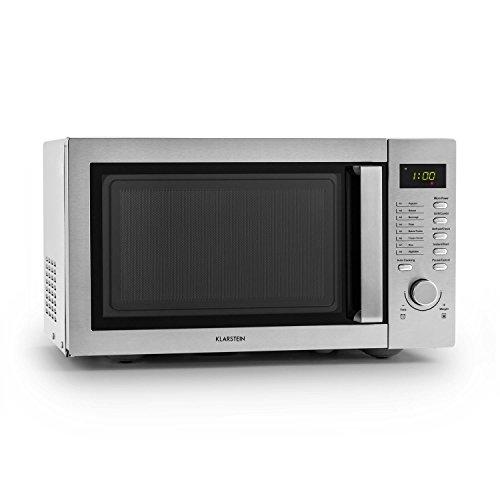 Klarstein • Steelwave four à micro-ondes • Multifonction 2 en 1 • Capacité de 23L • Puissance de 800W • Grill 1000W • 8 programmes • 3 niveaux de décongélation pour les plats préparés • Anneau de rotation • Arg