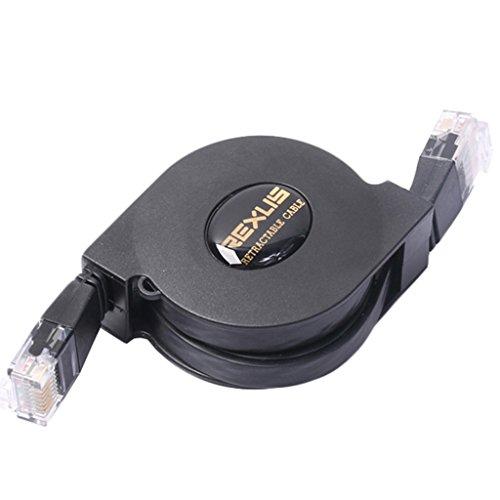 MagiDeal Faltbare CAT6 RJ45 Ethernet LAN Kabel Einziehbares Kabel Netzwerkkabel - Schwarz - 2m