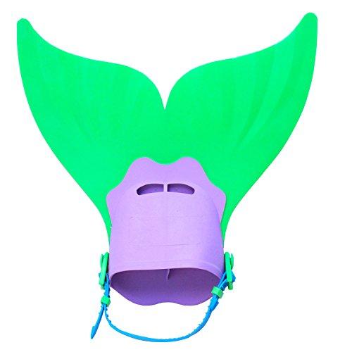 Le SSara Swim Fins Monoflosse Einstellbare Mermaid Tails zum Schwimmen mit Tauchen Flipper Fins (B03-green)