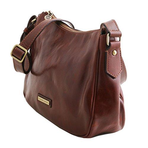 Tuscany Leather Cristina - Sac bandoulière en cuir Marron foncé Sacs à bandoulière en cuir Marron