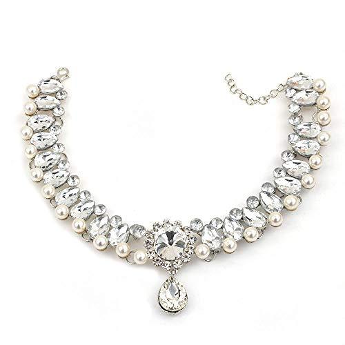 ZZWQ Halskette Anhänger Damenmode Vielseitig Schmuck Tropfenform Voller Diamanten Imitation Perle Kragen Halskette Hals Kette Schlüsselbein Kette, Silber (Imitation Diamant-halskette)