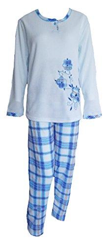 Col montant et manches longues pour femme Motif Love to Lounge Pyjama avec bustier T-Shirt col rond bas Rose - BLUE FLOWER/CHECK