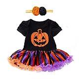 FORH Baby Kleider Kleinkind Kleid Infant Toddler Mädchen Halloween Pumpkin Drucken Partykleider Bow Party Dress +Haarschmuck
