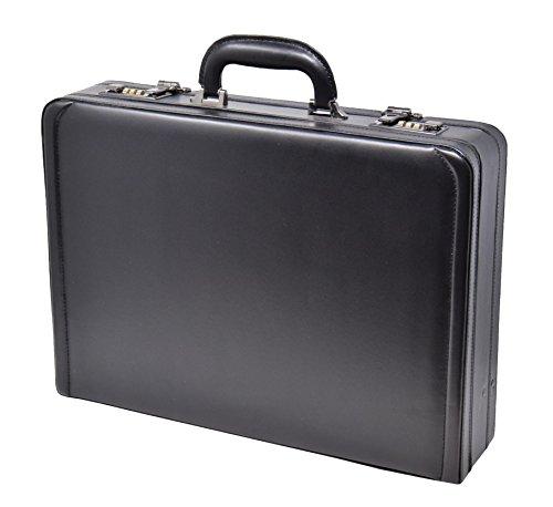 Kunstleder Attache Koffer Exekutive Geschäft Erweiterbarer Aktentasche HLG923 Schwarz (Executive Aktentasche Erweiterbare)
