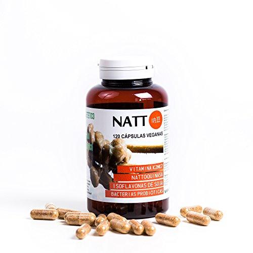 Natto BIO (getrocknet in Kapseln) 120 vegane Kapseln - Vitamin K2mk7, Nattokinase, Soja - Isoflavone, Probiotische Bakterien - Soja Isoflavone 120 Kapseln