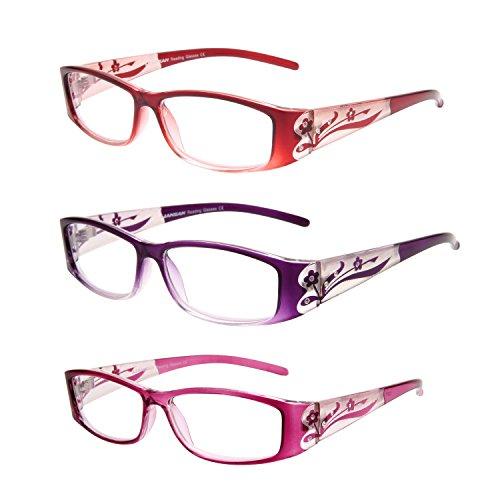 Liansan Damen Designer Leser 3Stück Lupe Retro Belastung der Augen Lesebrille für Frauen L3711